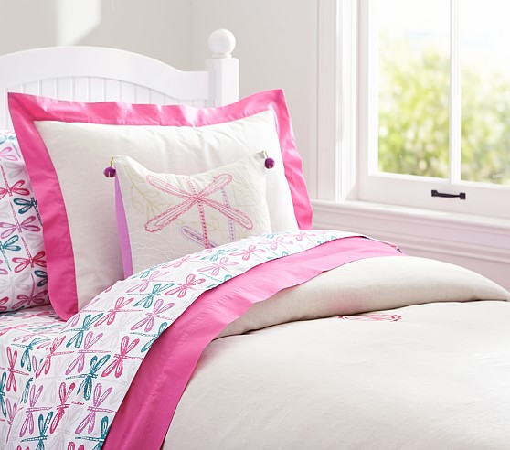 Bright Border Linen Duvet Cover, Twin, Bright Pink