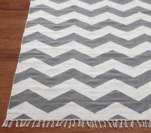 Chevron Dhurrie Mat 8' x 10' Gray