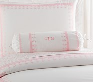Embroidered Bolster, Pink