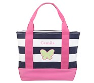 Navy Stripe/Pink Tote, Green Butterfly