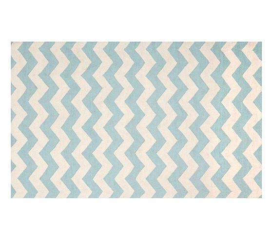 Wool Chevron Rug, 5x8' Aqua/White