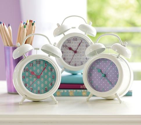 Turquoise & Lavender Retro Clocks, Lavender Pin Dot