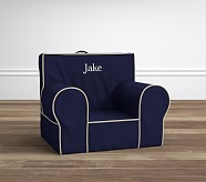 Anywhere Chair® Insert & Slipcover Set, Navy with Stone Piping