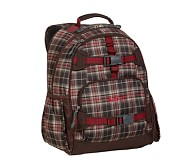 Brown Plaid Large Backpack