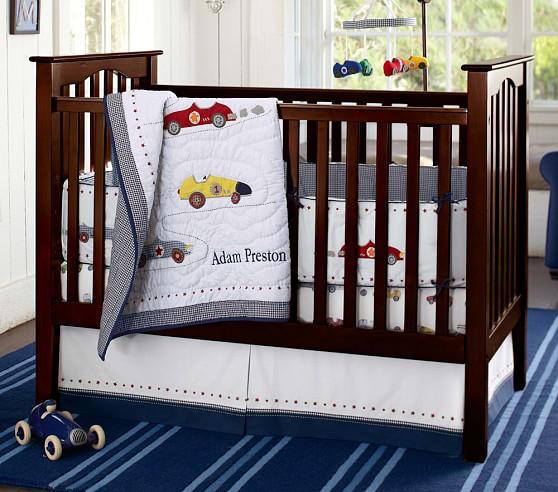 Roadster Nursery Bumper Bedding Set: Crib Skirt, Crib Fitted Sheet & Bumper