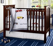 Roadster Nursery Quilt Bedding Set: Crib Fitted Sheet, Toddler Quilt & Crib Skirt
