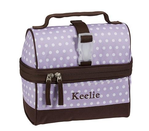 Mackenzie Lavender Dot Retro Lunch Bag