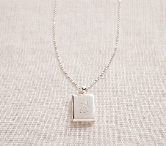 Silver Rectangle Locket Necklace