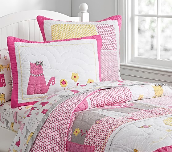 Pottery Barn Pink Quilt: Kitty Quilt, Full/Queen, Pink