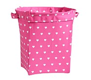 Heart Large Canvas Storage, Bright Pink