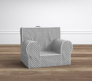 Gray Mini Dot with White Piping My First Anywhere Chair