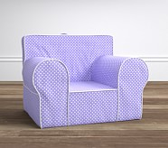 Oversized Lavender Mini Dot with White Piping Anywhere Chair®