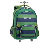 Rolling Backpack, Fairfax Green/Navy Stripe