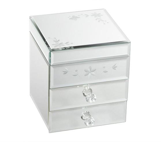 Mirrored Jewelry Box, 2 Drawer
