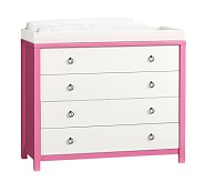 Hadley Nursery Dresser & Topper, Simply White/Bright Pink