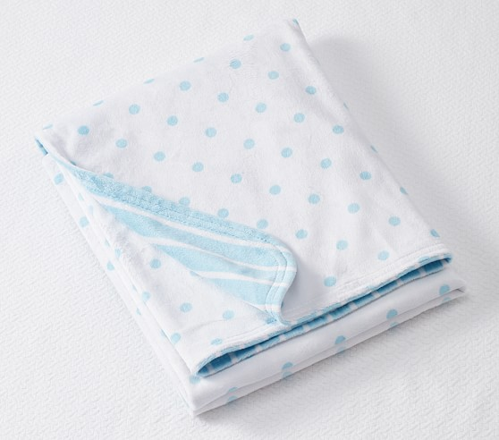 Dot & Stripe Chamois Baby Blanket, Aqua