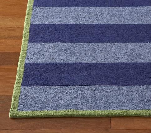 Rugby Stripe Rug, 3X5', Navy/Light Blue