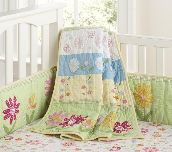 Daisy Garden Nursery Bumper Bedding Set, Green
