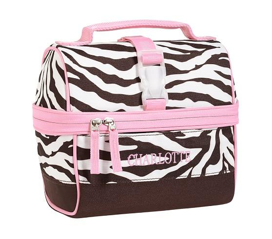 Mackenzie Chocolate Zebra Retro Lunch Bag