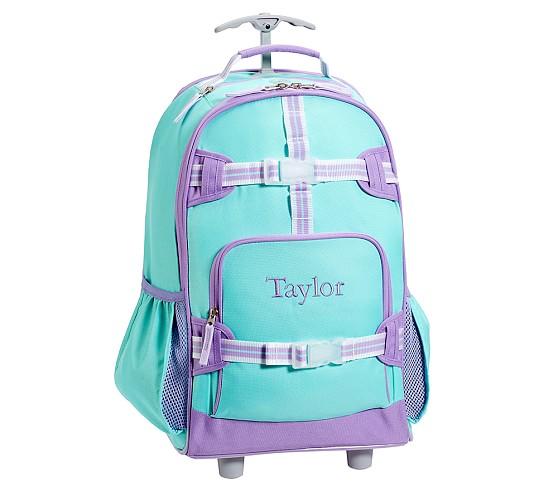 Mackenzie Turquoise Rolling Backpack