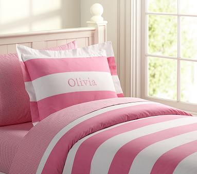 Rugby Stripe Duvet Cover Twin Pink Pottery Barn Kids