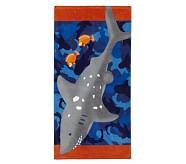 Shark with Fish Mini Beach Towel