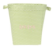 Large Canvas Bucket, Green Mini Dot