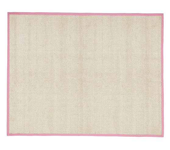 Chenille Jute Solid Border Rug (Pink) 3x5'