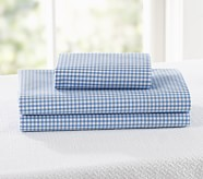 Gingham Toddler Sheet Set, Blue