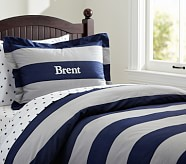 Rugby Stripe Duvet Cover, Twin, Navy/Gray