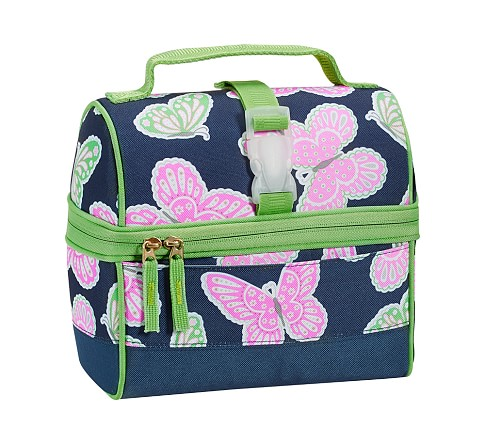 Mackenzie Navy Butterfly Retro Lunch Bag