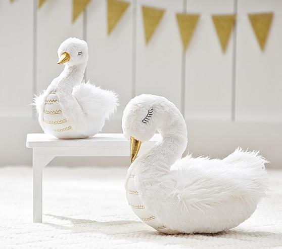 Faux Fur Swan Plush