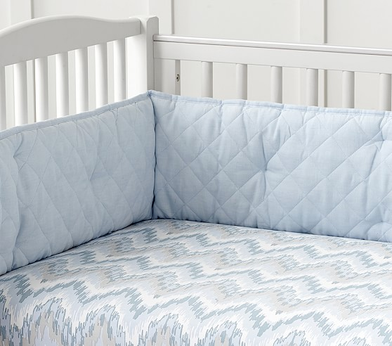 Organic Chevron Ikat Sateen Crib Fitted Sheet