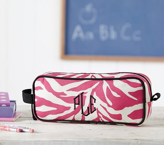 Mackenzie Bright Pink Zebra Pencil Case