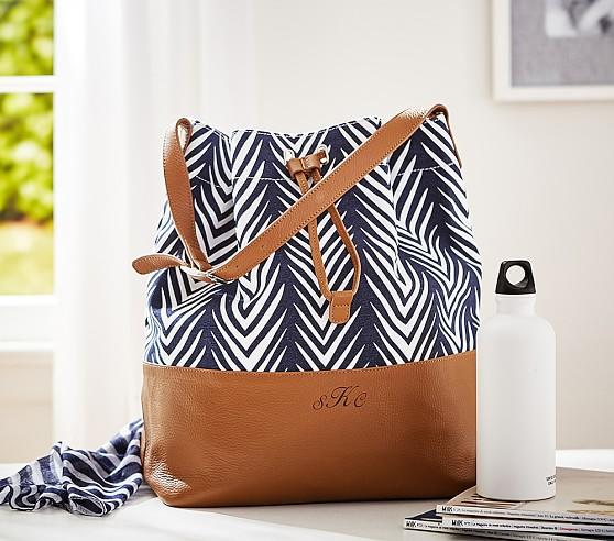 printed canvas leather diaper bag pottery barn kids. Black Bedroom Furniture Sets. Home Design Ideas