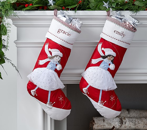 Ice skater quilted stocking pottery barn kids