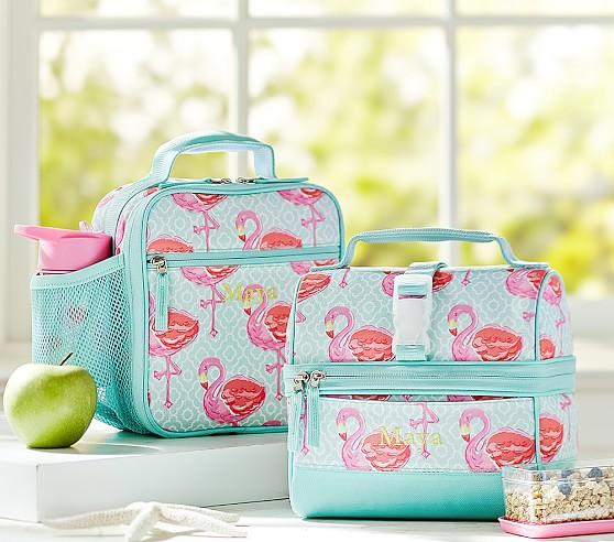 Mackenzie Aqua Flamingo Lunch Bags Pottery Barn Kids