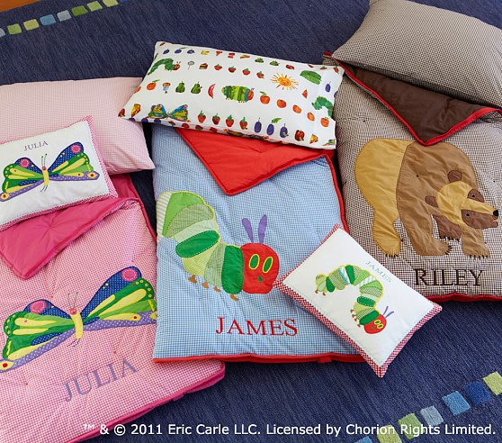 the very hungry caterpillar and brown bear toddler sleeping bags pottery barn kids. Black Bedroom Furniture Sets. Home Design Ideas
