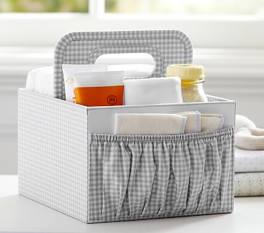 Gray Gingham Diaper Caddy Pottery Barn Kids