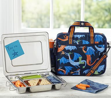Mackenzie Navy Dragon All In One Lunch Bag Pottery Barn Kids