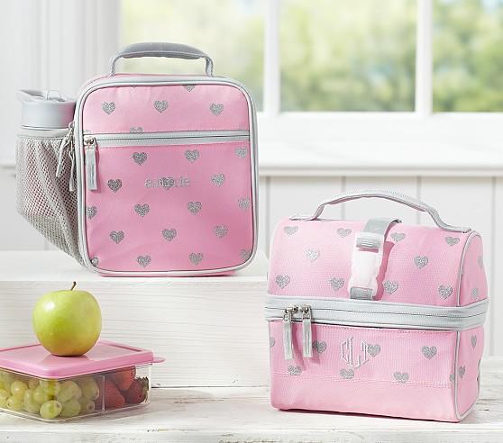Mackenzie Pink Glitter Heart Lunch Bags