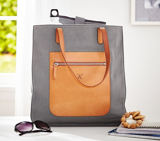 Gray Canvas Leather Tote