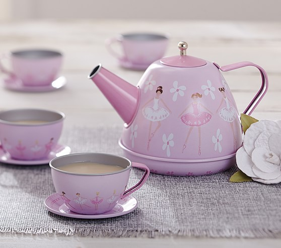 Ballerina mini tin tea set pottery barn kids for Kitchen set for 8 year old