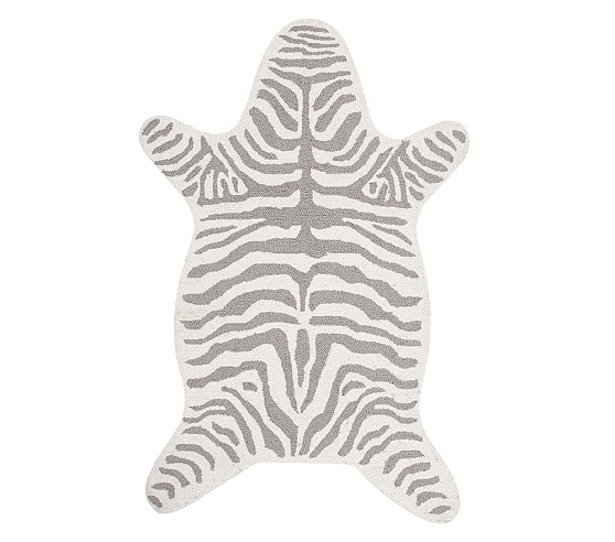 Zebra Shaped Rug - Gray