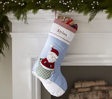 Santa Blue Quilted Stocking Pottery Barn Kids