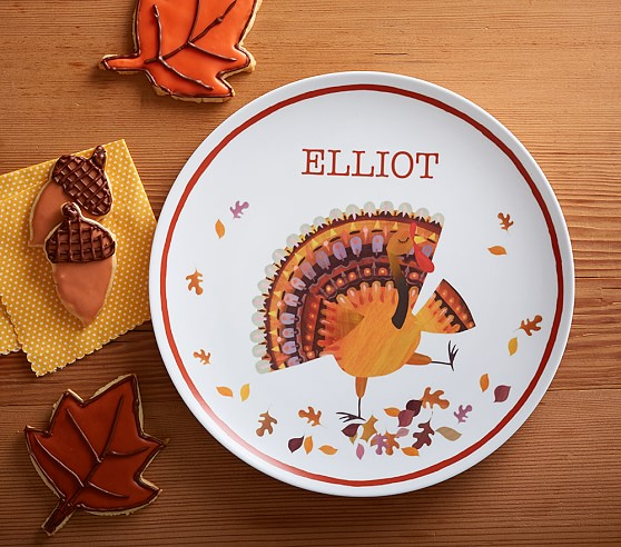 Thanksgiving personalized plate pottery barn kids for Pottery barn thanksgiving