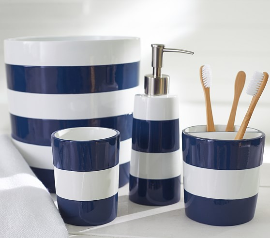 Navy stripe bath accessories pottery barn kids for Navy blue bathroom accessories