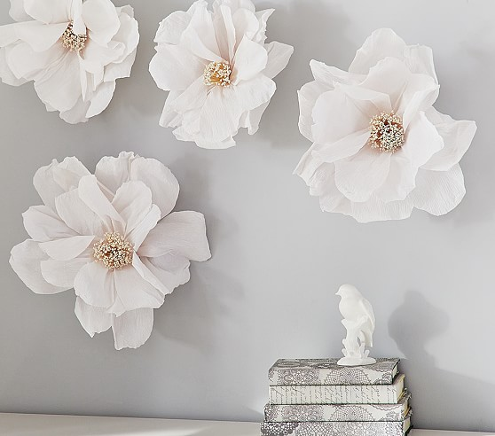 Crepe paper flower decor set pottery barn kids for Flower decoration made of paper