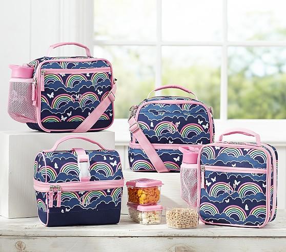 Mackenzie Navy Rainbow Lunch Bags