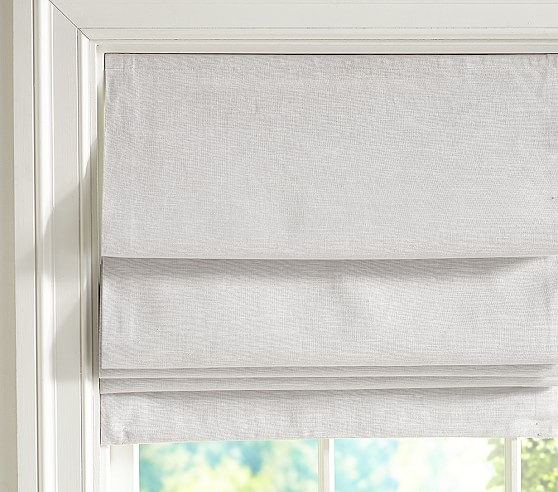 Evelyn linen blend blackout cordless roman shade pottery for Linen shades window treatments